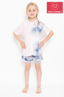 Cyberjammies Knitted Tee & Palm Print Shorts Pyjama Set