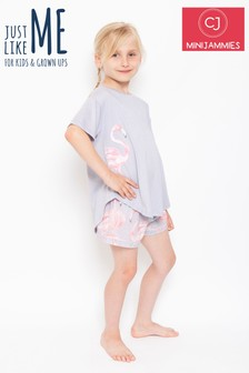 Cyberjammies Knitted Flamingo Shorts Pyjama Set