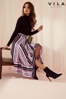 Vila Stripe Midi Skirt