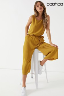 Boohoo Belted Culotte Jumpsuit