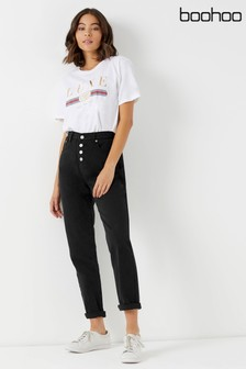 Boohoo Exposed Button Straight Leg Jeans