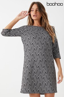 Boohoo Geo Jacquard Shift Dress