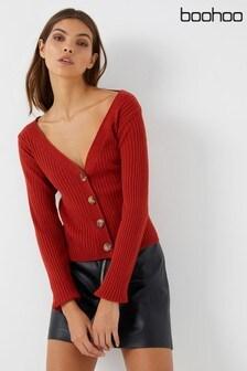 Boohoo Wide Rib Knit Button Up Cardigan