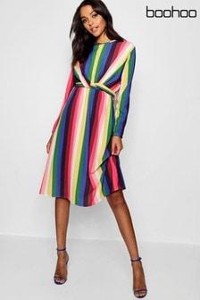 Robe mi-longue Boohoo Rainbow nouée sur le devant