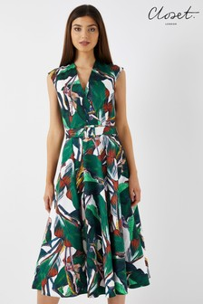 Closet Tropical Wrap Midi Dress with Belt