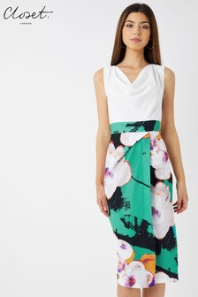 Closet Cowl Neck 2-in-1 Floral Wrap Pencil Dress