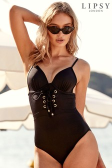 Lipsy Lace Up Swimsuit