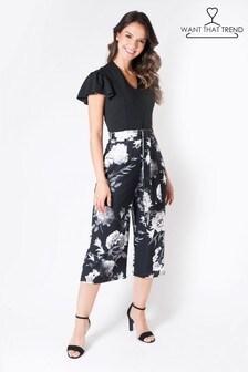 Want That Trend Monochrome Floral Jumpsuit