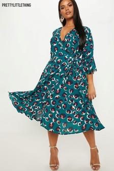 PrettyLittleThing Curve Wrap Midi Dress