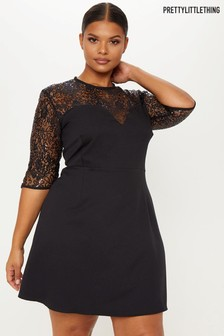 PrettyLittleThing Curve Lace Insert Skater Dress 5bcdd3782
