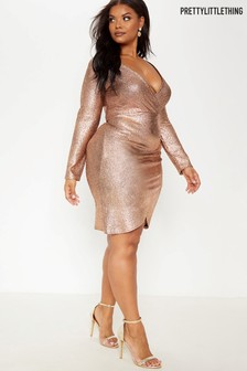 PrettyLittleThing Curve Ruched Metallic Mini Dress