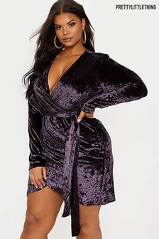 PrettyLittleThing Curve Velvet Wrap Mini Dress