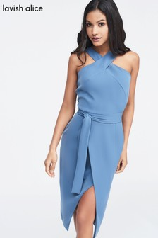 Lavish Alice Halter Neck Wrap Front Midi Dress