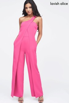 0da6a2a754fc Lavish Alice One Shoulder Wrap Over Wide Leg Jumpsuit