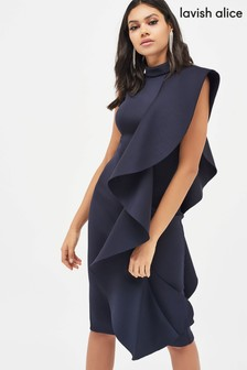 Lavish Alice Scuba Frilled Midi Dress
