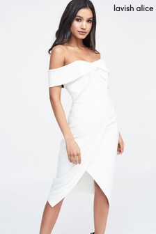 Lavish Alice Woven Twist Bardot Midi Dress