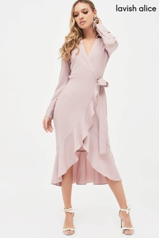 Lavish Alice Frill Hem Wrap Front Shirt Dress
