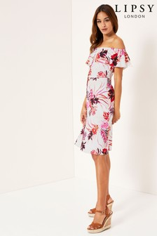 Lipsy Tiger Lilly Linen Blend Bardot Midi Dress