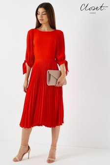Closet Split Sleeve Pleated Dress