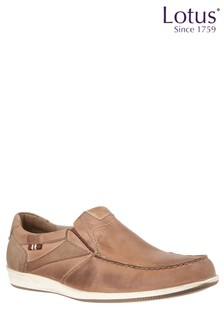 Lotus Leather Slip On Loafers