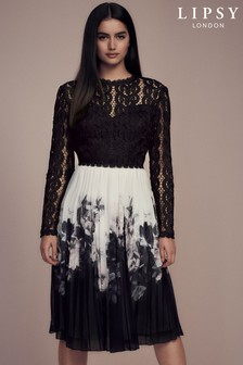 Lipsy Lace Top 2 in 1 Pleated Skirt Midi Dress ca1545544