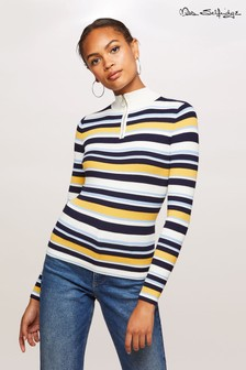 Miss Selfridge Zip Funnel Stripe Jumper