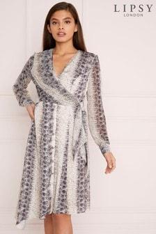 Lipsy Snake Print Midi Dress