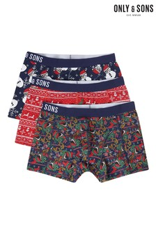 Only & Sons Pack Of 3 Christmas Trunks