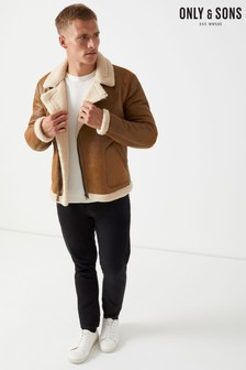 Only & Sons Faux Leather Aviator Jacket