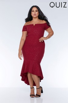 Quiz Curve Bardot Glitter Dress