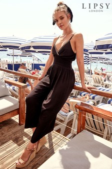 Lipsy Beaded Front Beach Jumpsuit