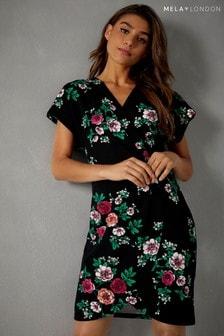 Mela London Floral Print Wrap Dress