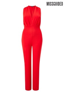 Missguided Curve Plunge Sleeveless Jumpsuit