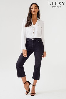 Lipsy Demi High Rise Crop Kick Flare Petite Length Jeans