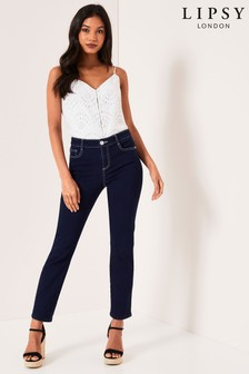 Lipsy Meghan Mid Rise Slim Leg Scarf Belt Petite Length Jeans