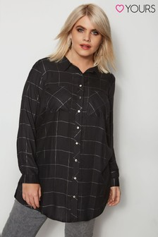 Yours Clothing Lurex Boyfriend Check Shirt