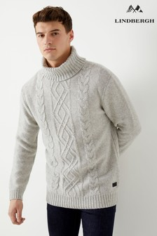 Lindbergh Cable Knit Roll Neck Jumper