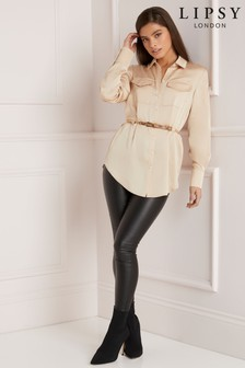 Lipsy Long Line Belted Shirt