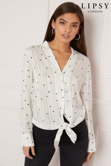 Lipsy Dotted Long Sleeved Top