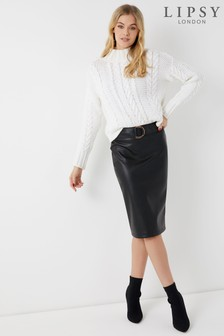 Lipsy Faux Leather D Ring Pencil Skirt