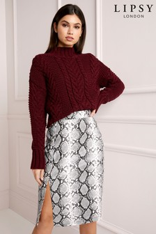Lipsy Snake Print Faux Leather Pencil Skirt