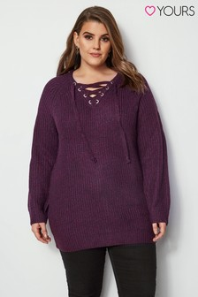 Yours Curve Eyelet Chunky Jumper
