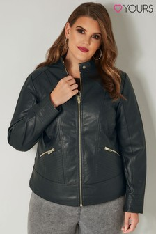 Yours PU Centre Jacket