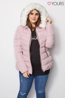 Yours Short Padded Fur Trim Hood Jacket