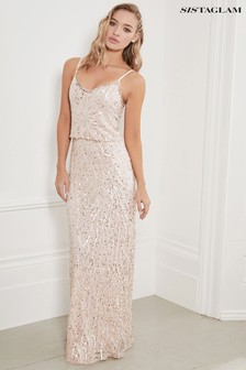 Sistaglam Beaded Blouson Maxi Dress