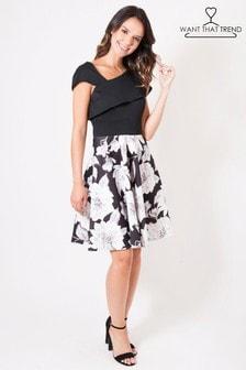 Want That Trend Floral Cut Shoulder Skater Dress