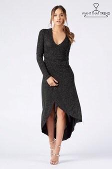 Want That Trend Sequin Wrap Dress