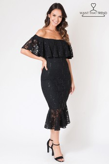 Want That Trend Bardot Sequin Lace Dress