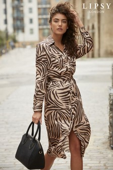 Lipsy Petite Zebra Belted Dress