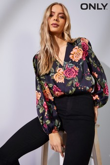 Only Wrap Floral Print Bodysuit